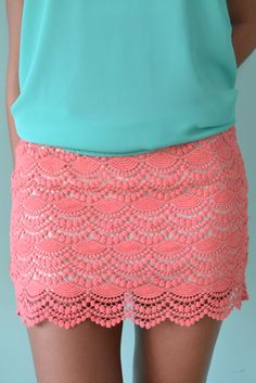 Coral lace crochet skirt