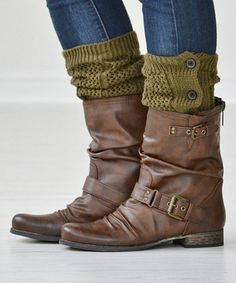 Another great find on #zulily! Army Green Button-Down Boot Cuffs by PeekABootSocks #zulilyfinds