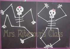 Q-tip Skeleton - craft center. i loved doing this in grade! Q-tip Skeleton - craft center. i loved doing this in grade! crafts grade crafts first grade Halloween Class Party, Halloween Crafts For Kids, Halloween Games, Halloween Activities, Halloween Kids, Halloween Crafts For Kindergarten, Halloween Skeletons, Classroom Crafts, Preschool Crafts