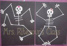 Q-tip Skeleton - craft center.. i loved doing this in 2nd grade!!!