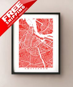 Amsterdam city map art poster print customize your map choose your