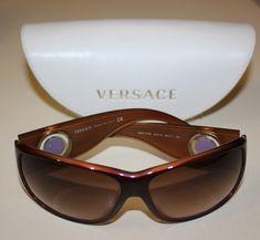 Versace,lunette de soleil, vintage,parfait état, authentique avec étui,  marron rouge,90s ,luxe, must, Femme, made in italy, medusa, mode eca0b34a7ac7