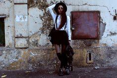 Thrift Store Shirt, Thrift Store Skirt, Dr. Martens Aggy Boots