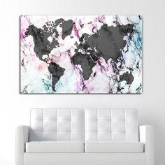 Πίνακας σε καμβά Rainbow Marble World Map ( παγκόσμιος χάρτης σε πολύχρωμο μάρμαρο) Marble, Rainbow, Map, Rain Bow, Marbles, Maps, Rainbows