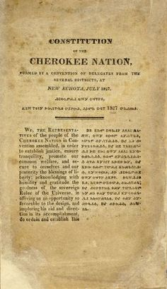 My great grandmother was full blooded Cherokee. Constitution of the Cherokee Nation.this comment from previous pinner.and I add, My great-grandmother was also a full-blood Cherokee. I am proud of my Native American ancestry! Cherokee History, Native American Cherokee, Native American Wisdom, Native American Tribes, Native American History, Native Americans, American Art, American Symbols, Native American Indians