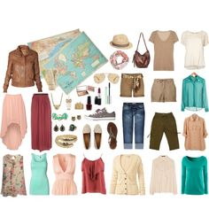 Travel clothes. Many outfits with a few pieces! Perfect for packbacking