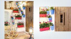 Detalle Jardinera geranios y macetas para colgar en azul añil Ladder Decor, Home Decor, Geraniums, Window Boxes, Blue Nails, Decoration Home, Room Decor, Interior Decorating