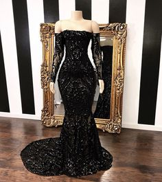 Vestidos Off The Shoulder Mermaid Prom Dresses 2019 New Black Long Sleeve Sequined Formal Evening Dress Party Gowns Prom Girl Dresses, Prom Outfits, Prom Dresses Long With Sleeves, Cheap Prom Dresses, Sexy Dresses, Summer Dresses, Long Dresses, Midi Dresses, Sparkly Dresses