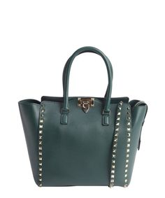 Valentino olive leather 'Rockstud' studded detail small convertible top handle tote