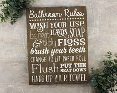 "Bathroom Rules Sign : Fun kids bathroom art that gives a reminder to the simple bathroom tasks. FEATURES: Size is 11"" x 14"" Handmade at our sign studio Solid wood with dark stain White painted letteri"