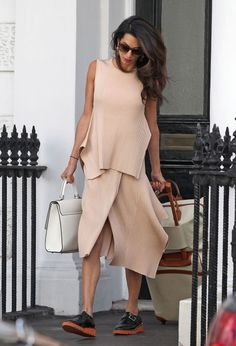 Leaving her London home in a Stella McCartney two-piece.