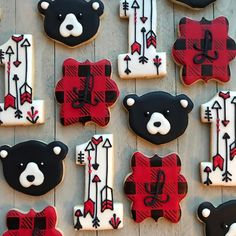 Baby Bear Cookies, Red and Black Cookies, First Birthday First Birthday Cookies, Boys First Birthday Party Ideas, Wild One Birthday Party, Baby Boy First Birthday, 1st Boy Birthday, Boy Birthday Parties, Lumberjack Birthday Party, 1st Birthdays, Bear Cookies