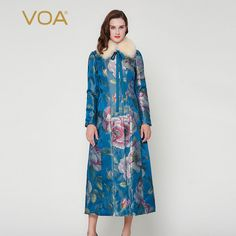 Find More Down & Parkas Information about VOA blue safflower big fox fur collar long section cotton padded jacket silk jacquard coat winter M7261,High Quality coat women,China coat clasp Suppliers, Cheap coat blazer from VOA Flagship Shop on Aliexpress.com