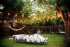 Awesome String Lights for Outdoor Backyard Party : Inspiring Outdoor Party Lighting Ideas for Setting The Mood. Backyard Party Lighting, Backyard Wedding Decorations, Ceremony Decorations, Table Decorations, Outdoor Wedding Centerpieces, Outdoor Weddings, Backyard Weddings, Garden Weddings, Unique Weddings