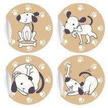 24 lustige Comic Hunde Aufkleber (ø 45mm; 6 x 4 Motive)