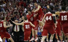 Gr8 pic of the Badgers celebrating their final four victory. Nice ups Ben ;-) Wisconsin players react as time runs out in overtime.