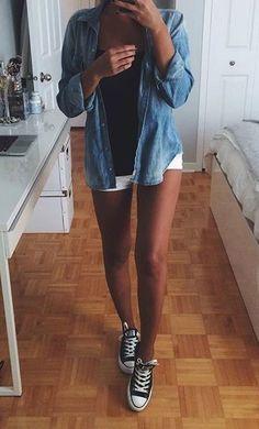 chambray shirt + converse