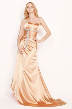 Couture Orange Satin Asymmetrical A-Line Prom Dress