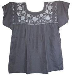 Amazon.com: Liliana Cruz Women's Mexican White Embroidered Blouse: Clothing