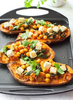 Roasted Sweet Potatoes w/ Chickpeas, Spinach & Feta