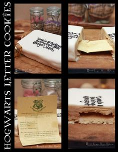Hogwarts Letter Cookies and 45 other amazing Harry potter treats! Harry Potter Treats, Harry Potter Food, Harry Potter Birthday, Pavlova, Cheesecakes, Acceptance Letter, Hogwarts Letter, Treat Yourself, So Little Time