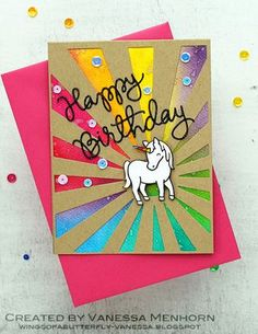 I am back with a very colorful card. Two of my favorite companies, Simon Says Stamp and Lawn Fawn teamed up for their firs. Unicorn Birthday Cards, Kids Birthday Cards, Unicorn Cards, Rainbow Unicorn Party, Rainbow Card, Tarjetas Diy, Animal Cards, Card Making Inspiration, Watercolor Cards