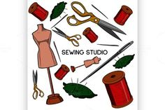 Colored hand drawn sewing icons set. Sewing Icons. $5.00