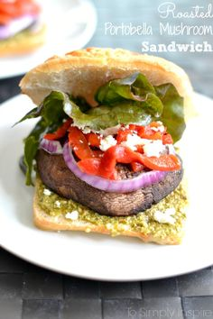 This Roasted Portobella Mushroom Sandwich is exquisite. Loaded with flavors from the pesto, roasted red peppers, and feta.