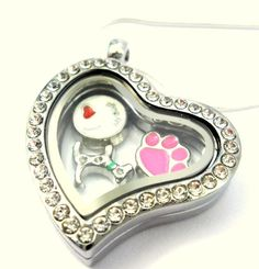 """New """"I Love My Dog"""" Heart Shape Memory Locket 3 Charms 18"""" Sterling Silver Chain #GlassConfusion #Modern"""