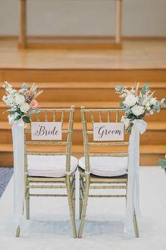 Wedding Chair Signs, Wedding Chair Decorations, Wedding Chairs, Church Wedding Decorations Rustic, Mr And Mrs Wedding, Wedding In The Woods, Wedding Stage, Wedding Church, Glamorous Wedding