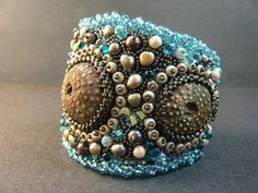 The Urchins Are Coming bead embroidered cuff by crimsonfrog, $175.00