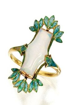 GOLD, OPAL AND ENAMEL RING, GEORGES FOUQUET, CIRCA 1900-1910