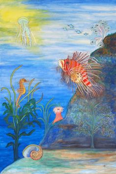 'Ocean, biodiversity of animals,seahorse and lionfish, Artenvielfalt, Feuerfisch und Seepferdchen, Artenschutz, Gemälde' by Dagmar Laimgruber on artflakes.com as poster or art print $18.03