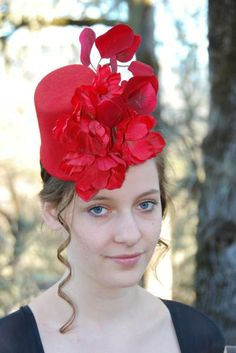 Red Wool Felt Fascinator By FINKAMENDOCINO Millinery Hats HatAcademy