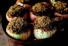 Roasted Onions Stuffed with Ground Lamb and Apricots.