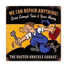 Busted Knuckle Garage Repair Shop 12 x 12 Metal Sign, Powder Coated Vintage Style Retro Garage Art, Wall Decor by HomeDecorGarageArt on Etsy Garage Signs, Garage Art, Garage Shop, Vintage Metal Signs, Vintage Ads, Vintage Style, Vintage Posters, Radiator Repair, Garage Repair