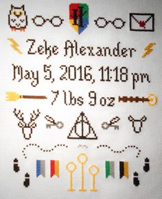 Cross stitched Harry Potter-themed baby sampler. Cross Stitch Quotes, Cross Stitch Letters, Cross Stitch Books, Cross Stitch Love, Cross Stitch Samplers, Cross Stitch Kits, Cross Stitch Charts, Cross Stitching, Cross Stitch Embroidery