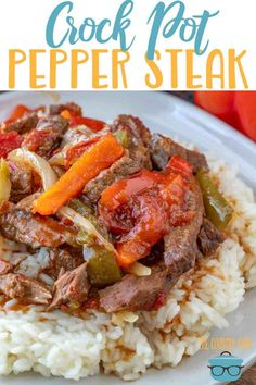 This easy Crock Pot Pepper steak is made with tender beef strips, peppers, onion and a tomato based sauce. Flavor is amazing! Crock Pot Pepper Steak recipe from The Country Cook, served over rice Steak Recipes, Cooker Recipes, Crockpot Recipes, Healthy Recipes, Yummy Recipes, Ketogenic Recipes, Cheese Recipes, Seafood Recipes, Chicken Recipes