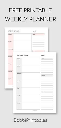 Simple Weekly Planner Printable