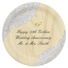50th golden wedding anniversary thank you classic round sticker 50th golden wedding anniversary faux satinlace paper plate anniversary gifts ideas diy celebration cyo unique junglespirit Images