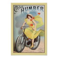 Woman on bicycle - vintage