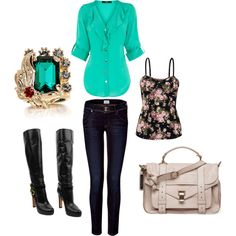 outfit: black / pink floral-printed thin-strapped singlet, turquoise elbow-sleeved buttonup ruffle-front sheer blouse, denim skinny-jeans, turquoise-jewelled / gold ring, black knee-high heeled boots, cream handbag