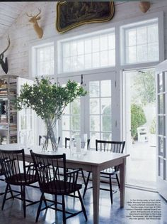 Mish Tworkowski's Millbrook, NY dining room.  The 1940s armchairs are by Stickley