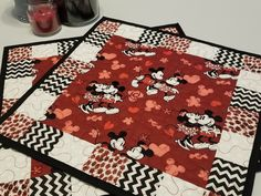 day decorations for home romantic dinners Disney Placemats, Quilted Mickey Mouse and Minnie Mouse for Valentine's, Anniversary, Romantic Dinner, Disney Bridal Shower or Wedding Gift Mickey Mouse Quilt, Minnie Mouse, Mickey Ears, Wedding Gift Messages, Wedding Gifts, Disney Bridal Showers, Place Mats Quilted, Disney Mugs, Valentines Day Dinner