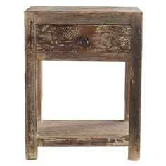 @Overstock.com - Hamshire 1-drawer End Table - Inspired by classic American furniture, this unique hand made distressed lime wash finished end table with a beautifully accented drawer pull is the perfect pair to any stylish bed. The table is composed of reclaimed Acacia wood.  http://www.overstock.com/Home-Garden/Hamshire-1-drawer-End-Table/7857393/product.html?CID=214117 $233.99