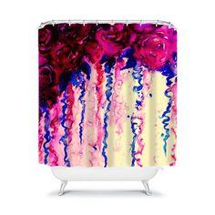 Great Shower Curtain!  PETALS ON PARADE Oxblood Indigo Blue Floral Fine by EbiEmporium, $89.00