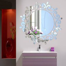 Beautiful Mirror Flower Art Decal ceiling room Wall Window Home Decor Silver