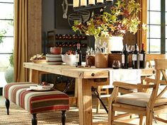 dining area rustic lodge style from pottery barn Dining Room Design, Dining Room Table, Dining Area, Dining Rooms, Lodge Style, Pottery Barn, Decoration, Benjamin Moore, Outdoor Furniture Sets