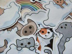 Cloud Cats Paper Sticker Flakes