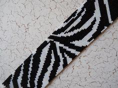 Zebra Stripe Peyote Stitch Cuff Bracelet -- Black & White